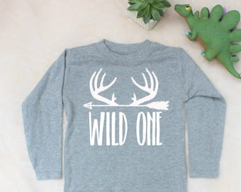 Wild One Print Grey Marl Long Sleeve Top T-Shirt
