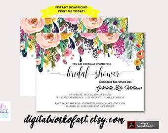 DIY Watercolor Floral Bridal Shower Invitation Template, Printable Floral, Bachelorette Party, Editable Flower Invite,Instant Download PDF