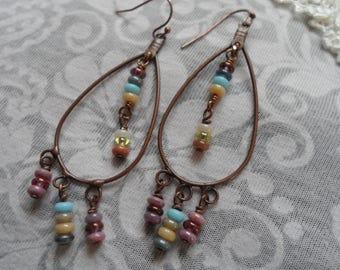 Rainbow Beaded Chandelier Earrings