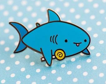Candy shark enamel pin – cute enamel pin, shark accessories, shark pin