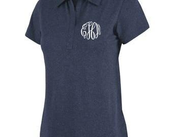 Monogram Polo Shirt - Monogram Ladies Polo - Ladies Polo - Ladies Monogram Shirt - Heathered Ladies Polo Shirt