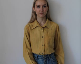 Vintage Faux Suede Button Up Shirt