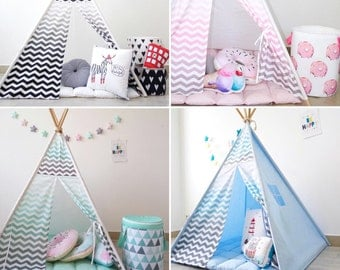 Kids Tepee with chevron (zigzag), tipi with poles, Kids teepee with shewron, indoor outdoor play tent, Pink tepee, Black tepee, Mint teepee