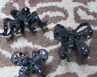 Set of 3 Mourning Jewelry Hair Accessories