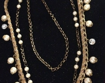 Triple Chain Necklace with Pearls and Ribbon