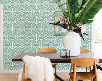 Green geometric shapes, triangles, minimalistic wallpaper #72