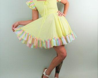 Rare 60s Yellow Mini Dress with Colorful Ruffle Sleeves & Waist