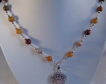 Desert Agate Necklace, Semi-Precious Bead Necklace, Agate Bead Necklace, Metal Jewellery, Jewellery, Pendant Necklace, Necklace
