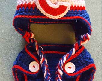Crochet Cubs Hat and Diaper Cover Photo Prop