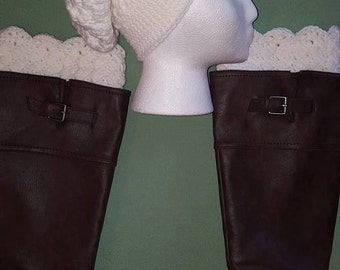 Crochet White Slouchy Hat/Boot Cuff Gift Set