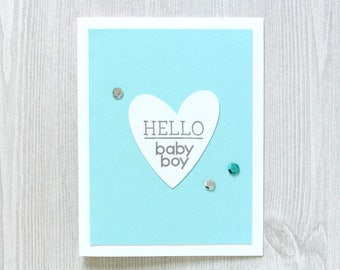 Handmade New Baby Card - Hello Baby Boy Card - Baby Boy Cards - Congrats Baby Card - Welcome Baby Card - Congratulations Heat Embossed Cards
