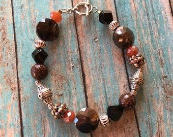 SALE - Southwest Boho Beaded Bracelet, Brown Beaded Bracelet, Southwest Jewelry, Boho Jewelry, Boho Bracelet, Southwestern Bracelet
