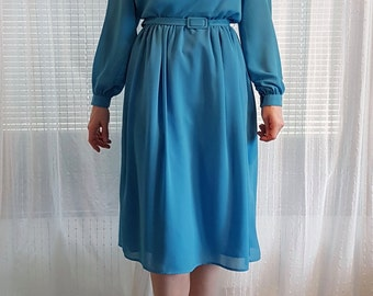 Blue Vintage 1960's Dress with Silver Jeweling