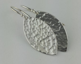 Hammered Leaf Earrings, Argentium Sterling Silver, Leaf Shape Earrings, Hammered Earrings, High Polish, Leaf Earrings, Ready to Ship