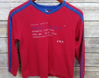Tommy Hilfiger 90s TOMMY JEANS Red Thermal Long Sleeve Graphic V Neck Youth S | Rare 1990s TH Clothing | Red, White, & Blue