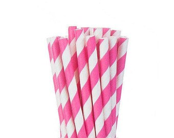 Bright Pink Striped or Polka Dot Straws, Pink Paper Straws, Bubblegum Pink, Fuchsia Pink Straws