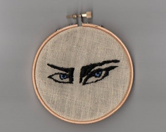 Gothic Eyes embroidery hoop, Siouxsie goth eyes, needlepoint crewel art, gothic outsider witchcraft occult horror art