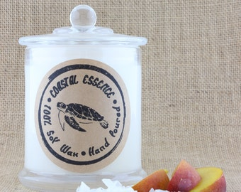 Peach and Coconut, Handpoured Soy candle. A sweet fruity fragrance. Every candle purchased helps support Marine wildlife