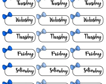 Blue Bow Date Cover Planner Stickers