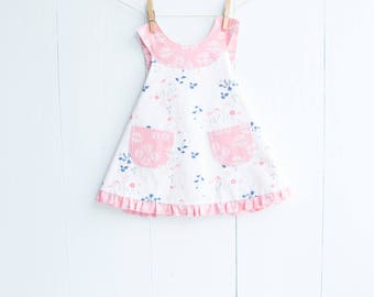 Pinafore Baby Dress-Dainty Blossoms Baby Girl Dress-REVERSIBLE Dress-Pink and Blue-Art Gallery Paperie-Cross Back Dress-Open Back