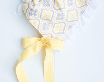 Ruffled Baby Bonnet-Yellow Damask with Polka Dot Lining-Gray/Yellow-White Eyelet Ruffle