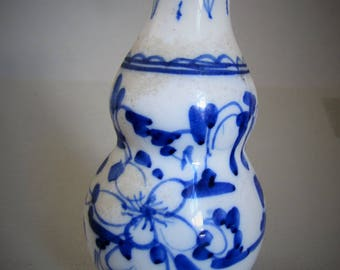 Antique Chinese Blue White Hand Painted Double Gourd Vase
