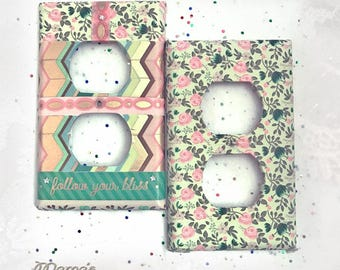 """Retro Looking 'Follow Your Bliss' Matching Switchplates, 2.75"""" X 4.5"""", Green, Gold, Pink, Handmade, Silver Stars, Positivity, Girls, Bedroom"""