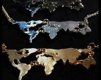 World Continents Necklace Gold, Silver, Dark Grey. Travel Wanderlust Trip Vacation World Wide