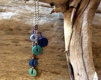 Necklace of recycled buttons #537