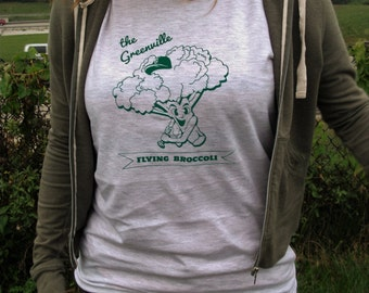 Broccoli Baseball Mascot T-shirt : Hand Screen Printed Unisex T-shirt, men's, women's, vegan, grey, healthy, veggie, sports, vegetarian