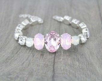 Bridal bracelet, Pink opal bracelet, Swarovski bracelet, Wedding jewelry, Crystal bracelet, Pink Crystal bracelet, Cuff bracelet, White opal