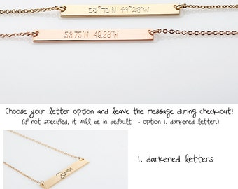 Dainty Gold GPS Necklace, Delicate Bridesmaid Gift, Latitude Longitude Necklace, Rose Gold Coordinates Necklace, Wedding Location Necklace