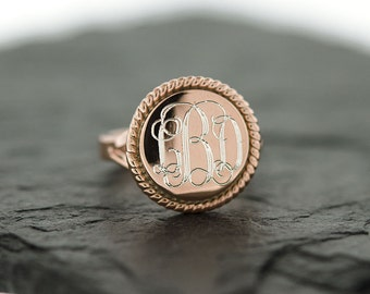 925 Sterling Silver Rose Gold Round Nautical Rope Monogram Ring, Bridesmaids Gifts, Rose Gold Monogram Ring, Monogram Ring, Rose Gold