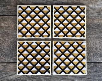 Black, Gold, and White Geometric Triangle Art Deco Coasters