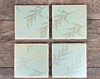 Blue Silver and Cream Branch Pattern Coasters