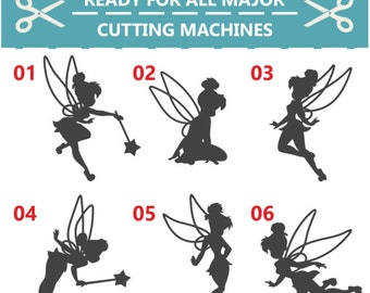 70% OFF SALE Tinkerbell, Tinkerbell SVG, Tinkerbell Cut Files, Tinkerbell Silhouettes Templates,  Disney, Cutting file, Overlay, svg, dxf