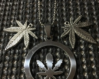 Pot Leaf Necklace and Earring Set