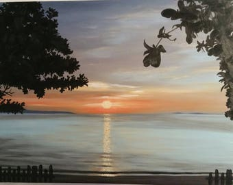 One island's sunset... (Oil on canvas)