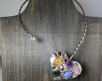 Silver Heart Collar Necklace with Mixed Stones