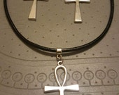 Stainless Steel and Leather Ankh Set