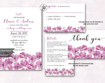 Watercolor floral wedding invitation. Instant download wedding invitation. Pink poppies wedding invitation. Printable wedding invitation.