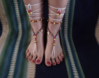 Barefoot sandals, boho, hippie, tibetan silver, jewelry barefoot, jewelry belly dancing, tribal, elephant