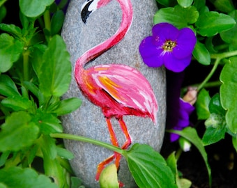 Painted Flamingo Stone / Flamingo Art / Rock Art / Hand Painted Natural Stone / Garden Decor