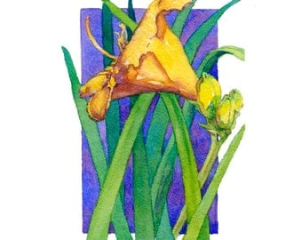 Lilies, contemporary collectable series, art watercolor painting giclee print 5.5/ 8, palette of blues, greens, sunny yellows, wall decor