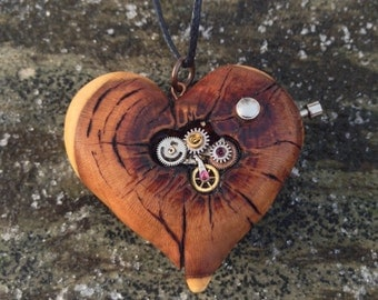 Steampunk Heart - wooden heart necklace, clockwork heart, steampunk heart pendant, pyrography pendant, wood burned necklace, wood jewelry