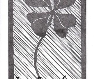 Lino Print Art Card - Lady Luck