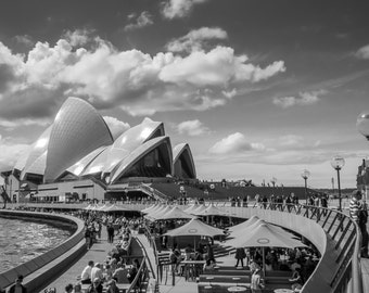 Sydney Opera House, Black and White Photography, Photographic Art, Architectural Photography, Urban, City, Home Decor, Wall Art,
