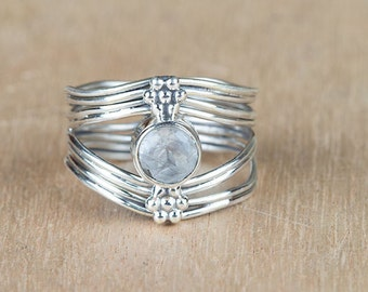 Moonstone Ring, Moonstone Silver Ring, Vintage Jewelry, Sterling Silver Moonstone Ring, Ring, Handcraft Jewelry, Gift For Her BJR-133-RMC-D