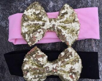 Sequin headband bow, birthday headband, sparkle headband, pink headband, black headband, first birthday headband, Valentines Day headband