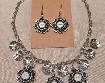 Lovely silver Charm and Button Necklace and Earring Set.